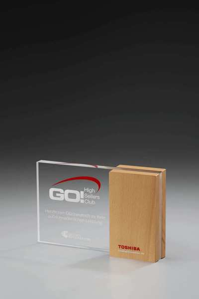 Wooden Side Award Acrylglas mit Holz