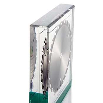 in Acrylglas eingeschlossenes Sägeblatt