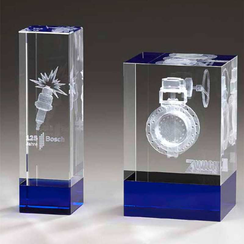 Kristallglas-Awards mit 3D-Innengravur