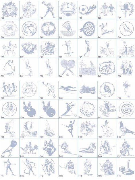 Glaspokal mit Embleme